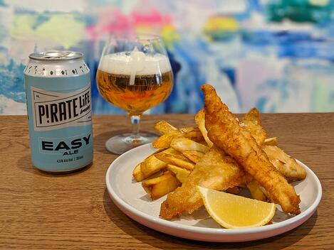Easy Ale beer battered fish and chips